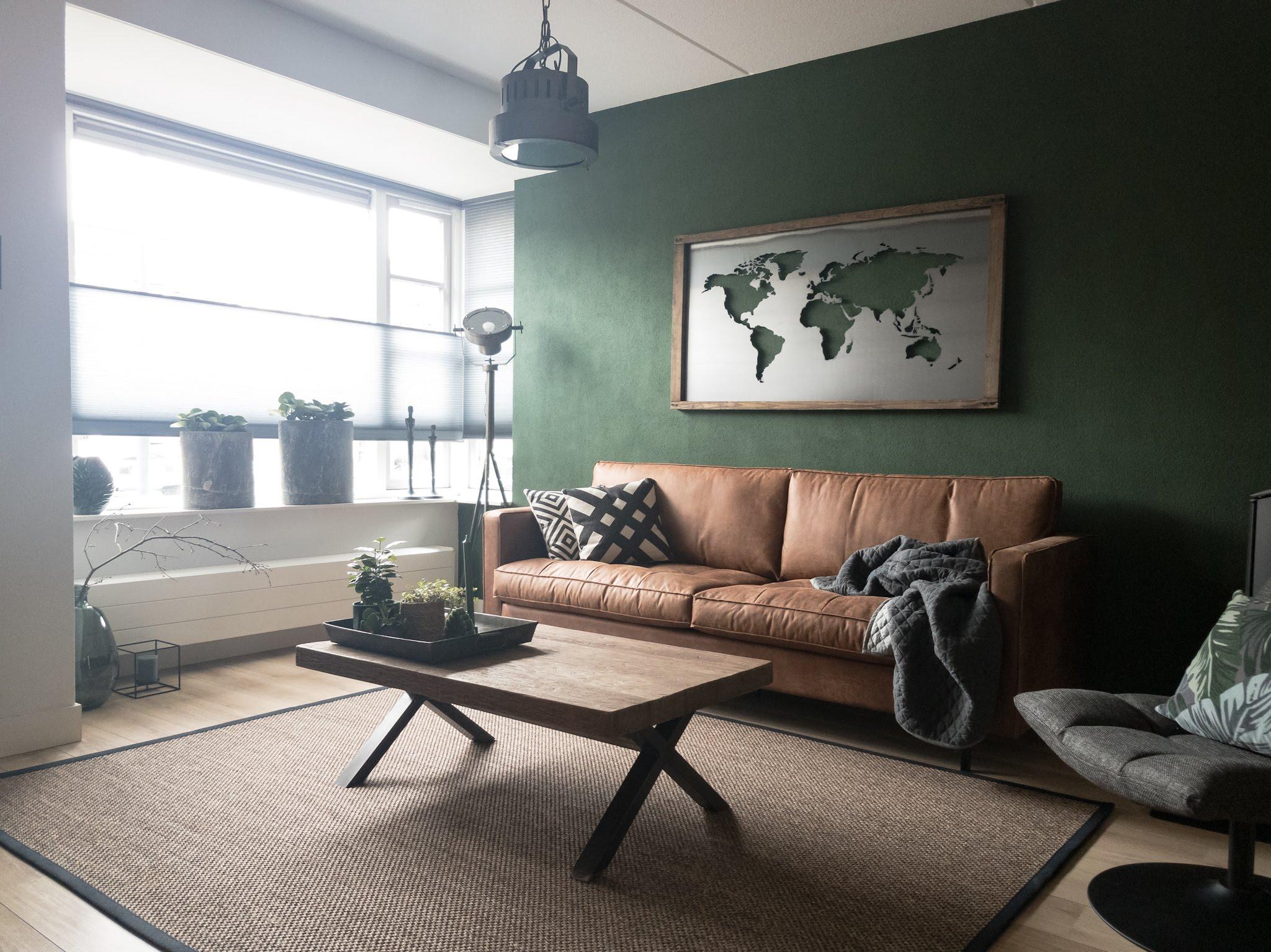 Portfolio interieur foto's woonkamer eethoek groen cognac stoer (2)