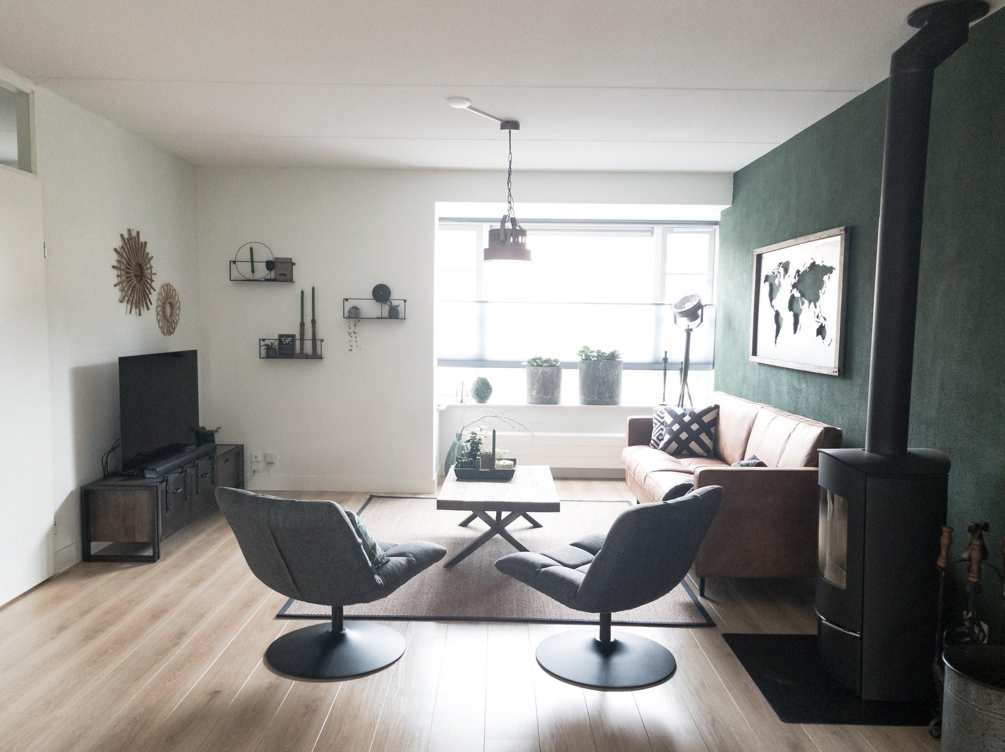Portfolio interieur foto's woonkamer eethoek groen cognac stoer (4)
