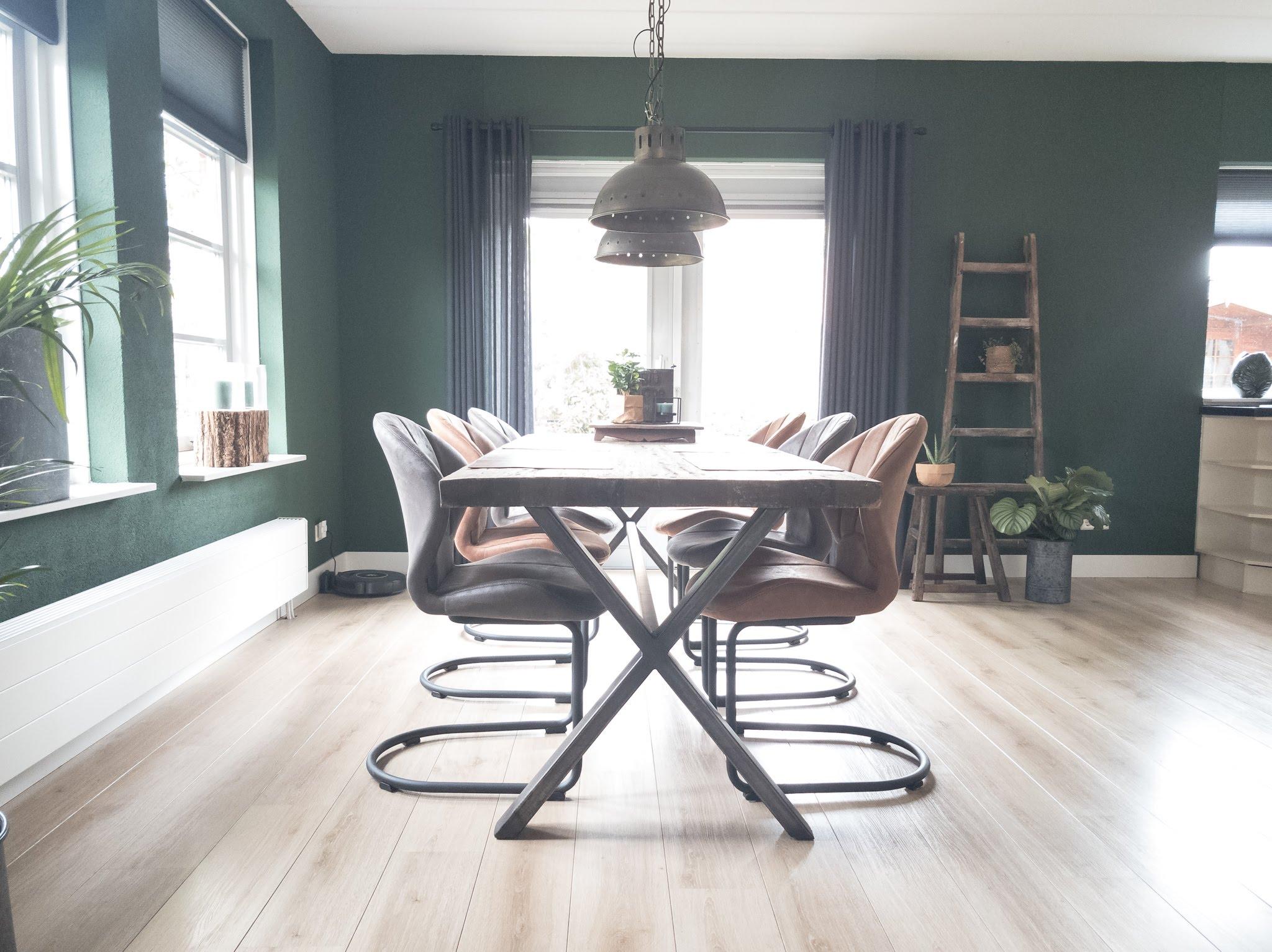 Portfolio interieur foto's woonkamer eethoek groen cognac stoer (5)