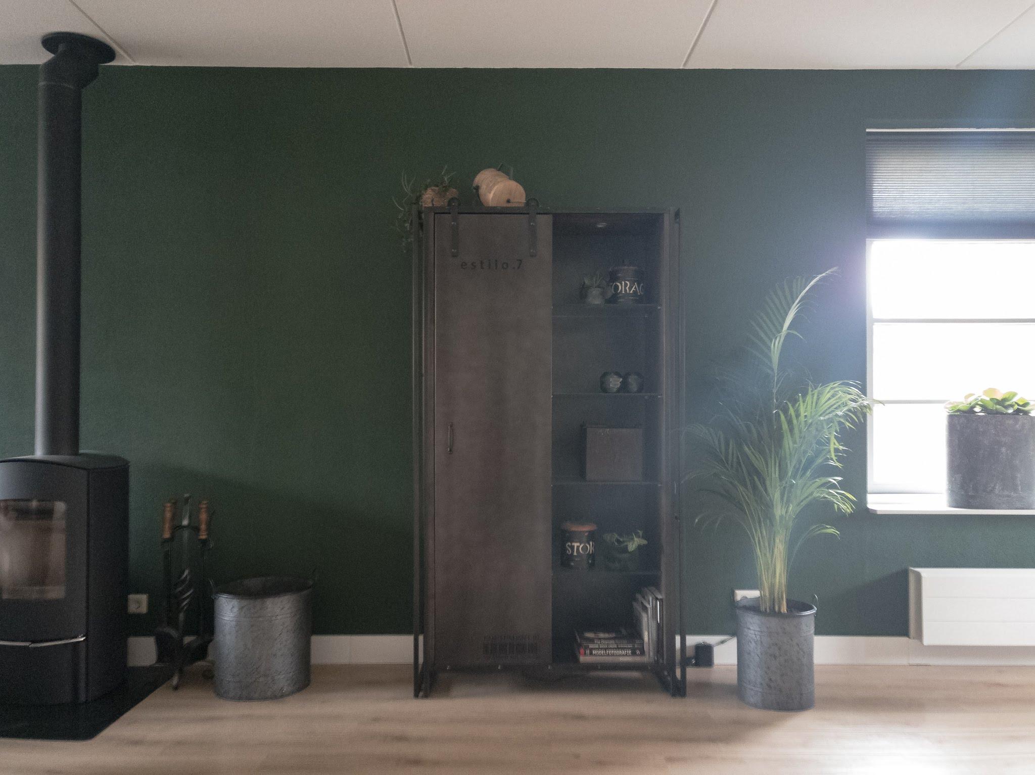 Portfolio interieur foto's woonkamer eethoek groen cognac stoer (6)