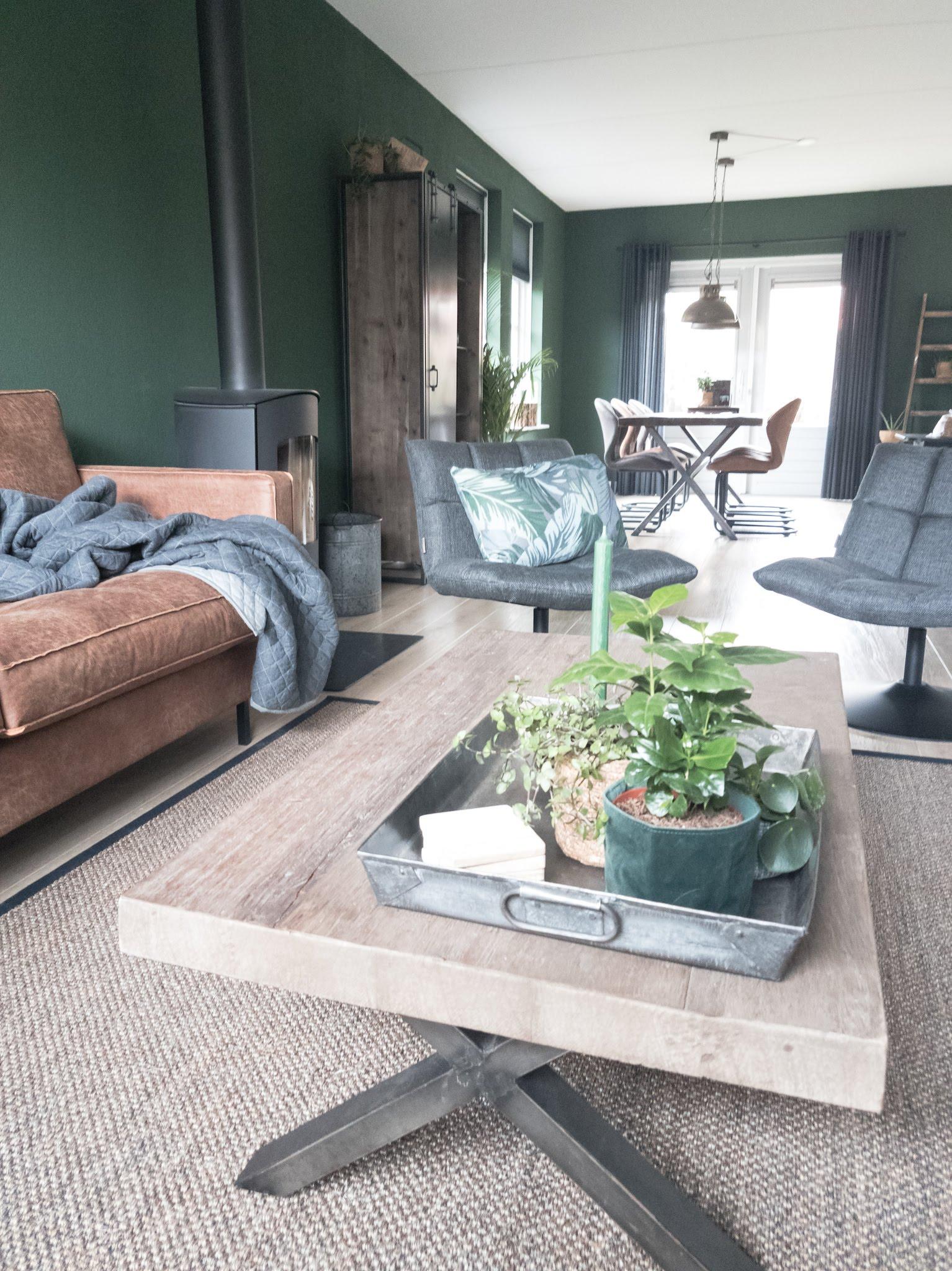 Portfolio interieur foto's woonkamer eethoek groen cognac stoer (7)