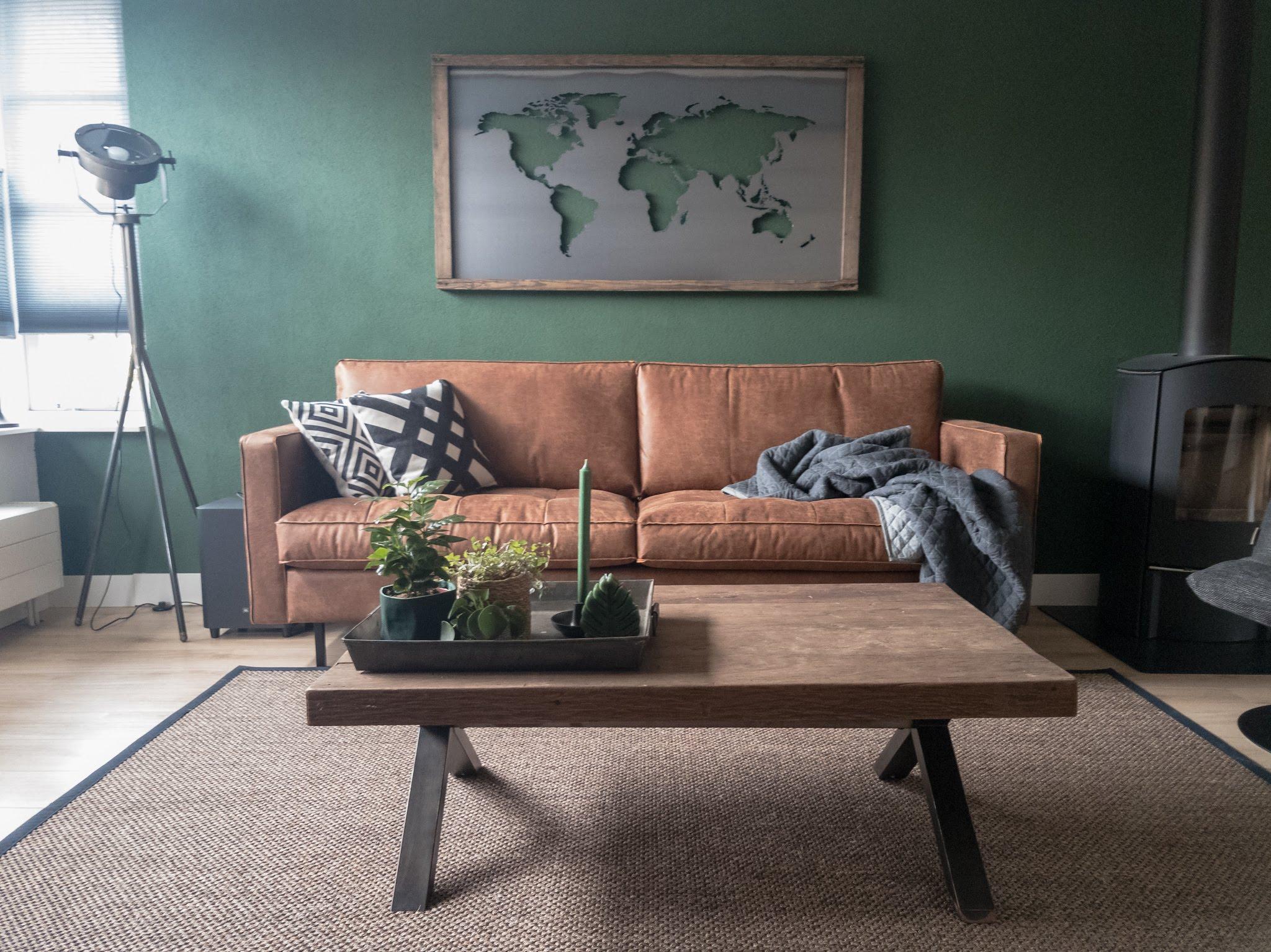 Portfolio interieur foto's woonkamer eethoek groen cognac stoer (8)