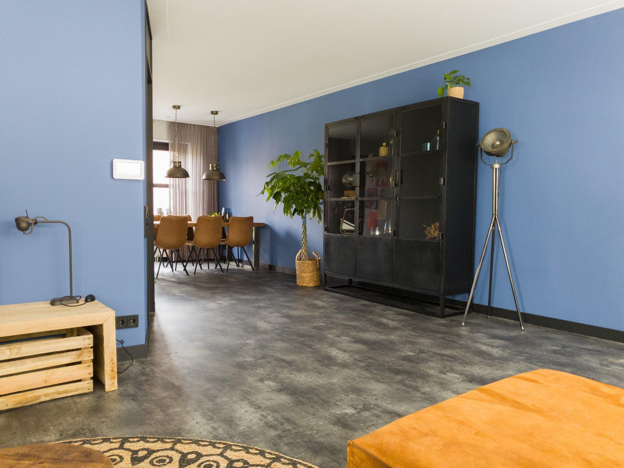 Herinrichting kleuradvies interieurontwerp woonkamer eetkamer cognac zwart blauw (3)